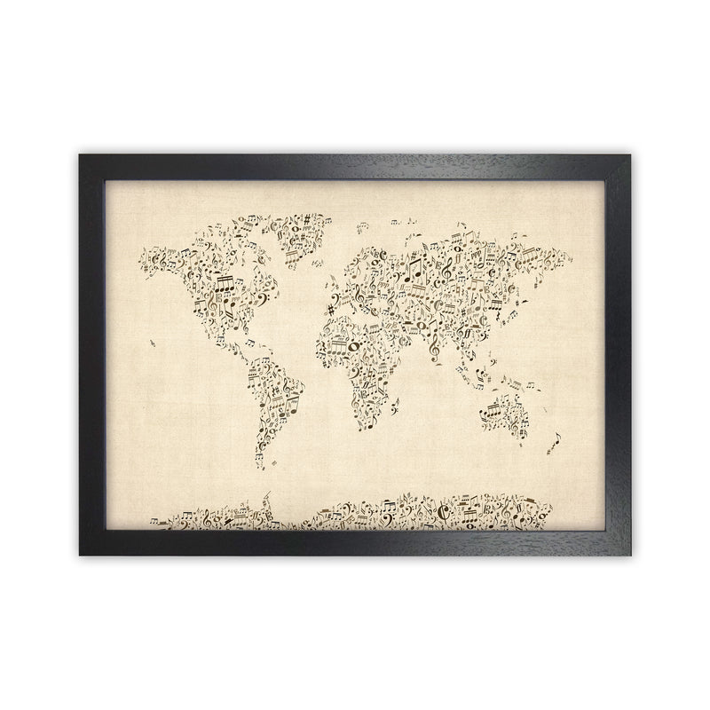 Music Notes Map of the World Art Print by Michael Tompsett Black Grain