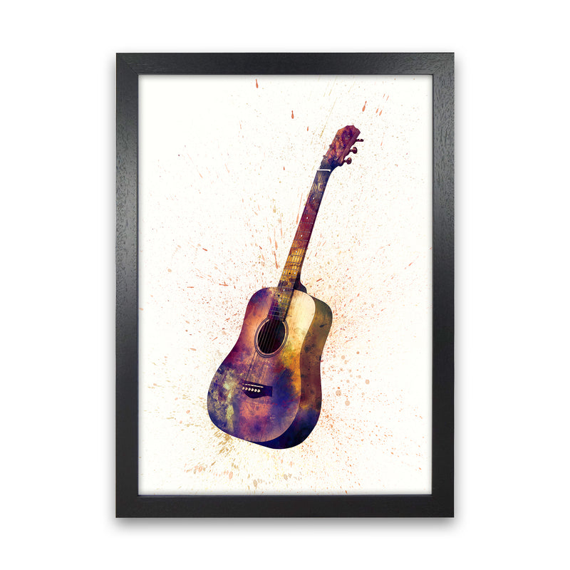 Acoustic Guitar Watercolour  by Michael Tompsett Black Grain