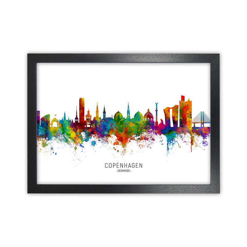 Copenhagen Denmark Skyline Art Print by Michael Tompsett Black Grain