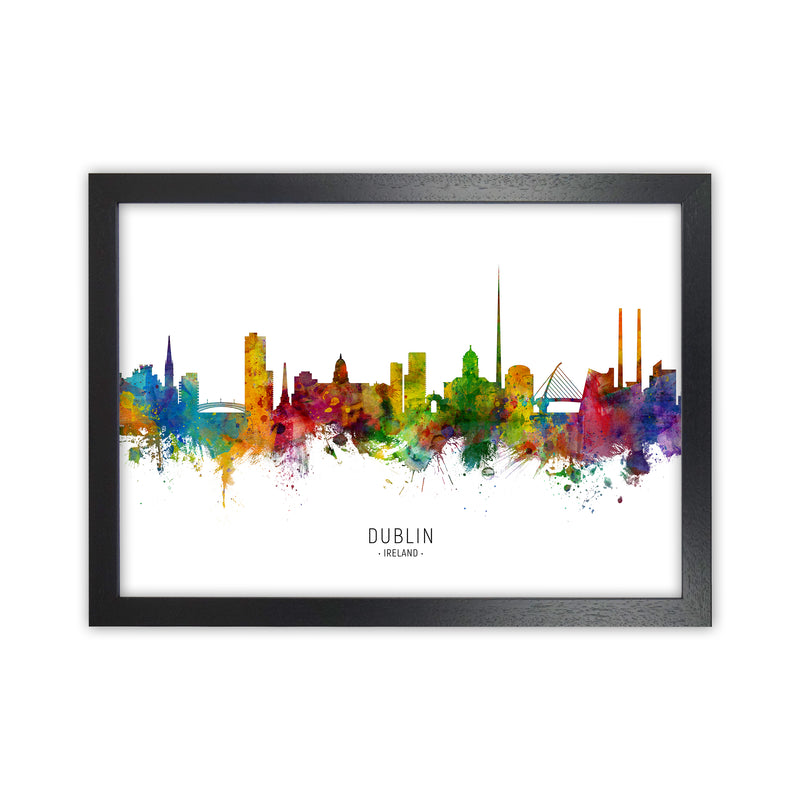 Dublin Ireland Skyline Art Print by Michael Tompsett Black Grain