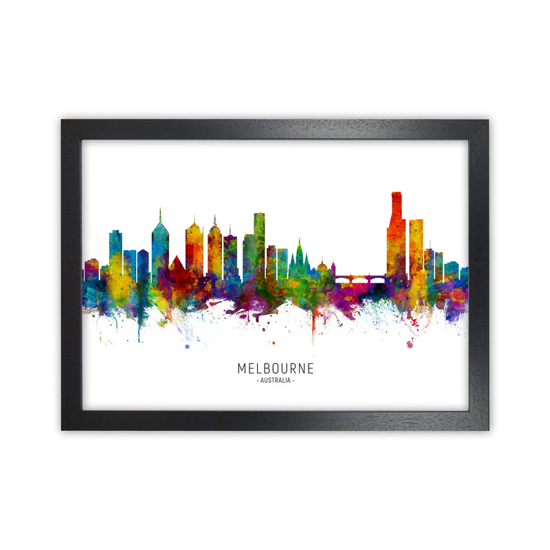Melbourne Australia Skyline Art Print by Michael Tompsett Black Grain