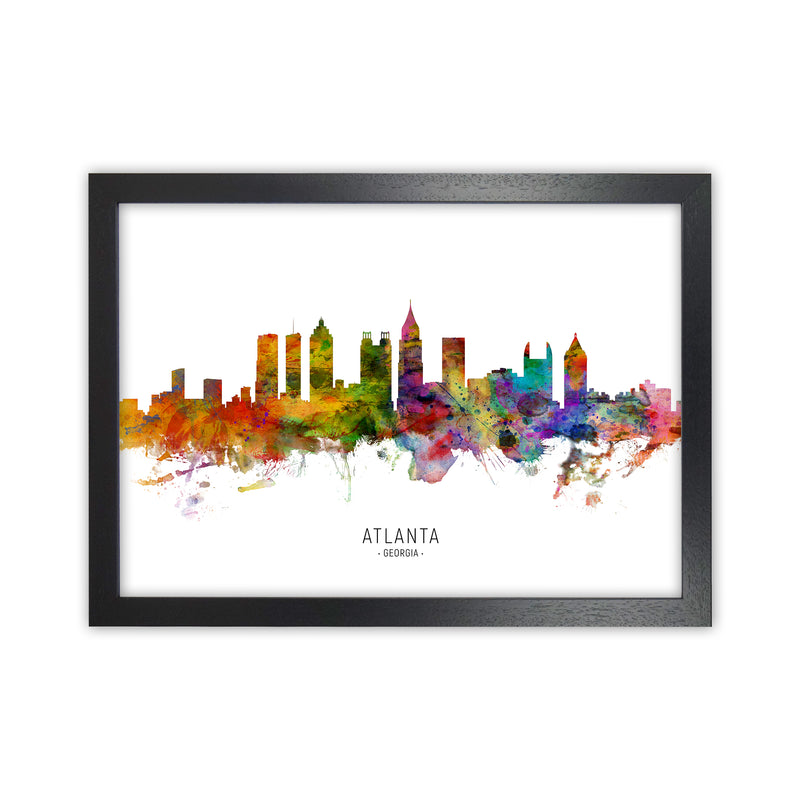 Atlanta Georgia Skyline Art Print by Michael Tompsett Black Grain