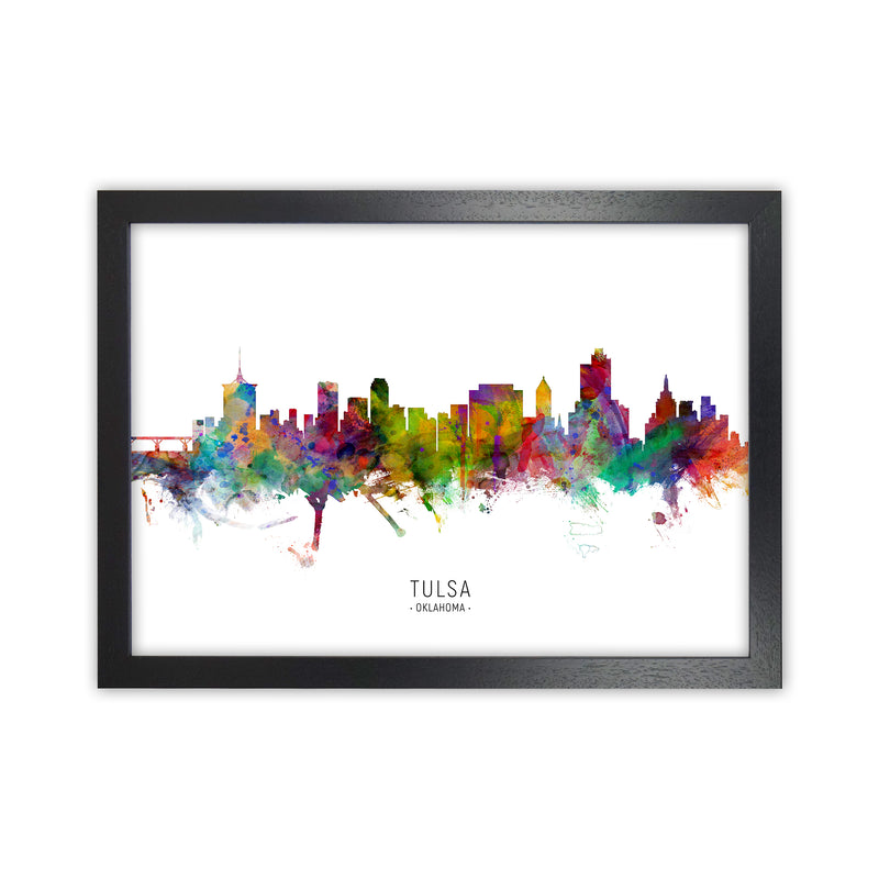 Tulsa Oklahoma Skyline Art Print by Michael Tompsett Black Grain