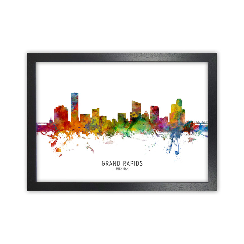 Grand Rapids Michigan Skyline Art Print by Michael Tompsett Black Grain