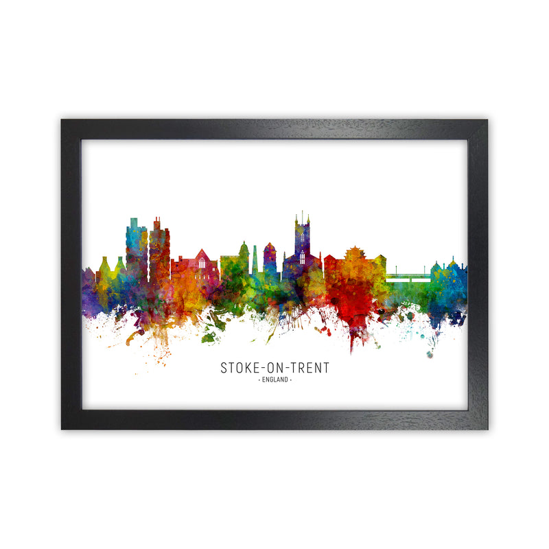 Stoke-On-Trent England Skyline Art Print by Michael Tompsett Black Grain