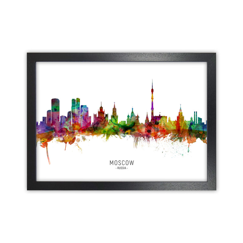 Moscow Russia Skyline Art Print by Michael Tompsett Black Grain