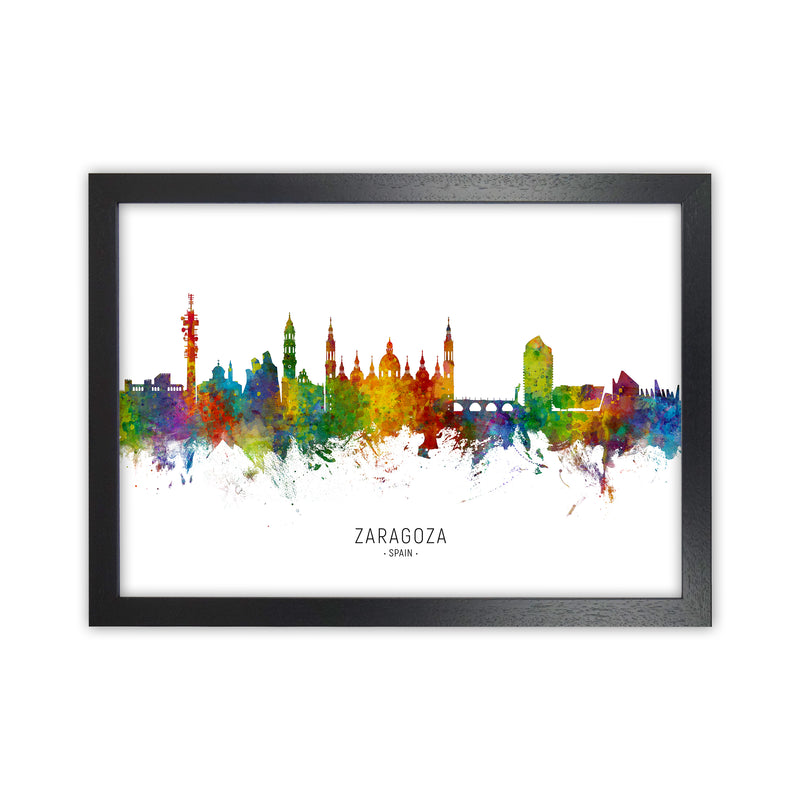 Zaragoza Spain Skyline Art Print by Michael Tompsett Black Grain