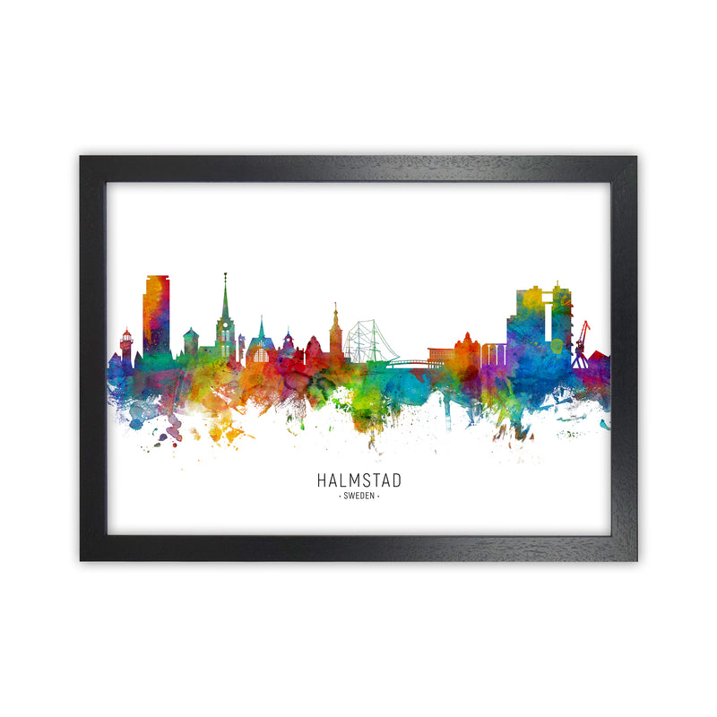 Halmstad Sweden Skyline Art Print by Michael Tompsett Black Grain