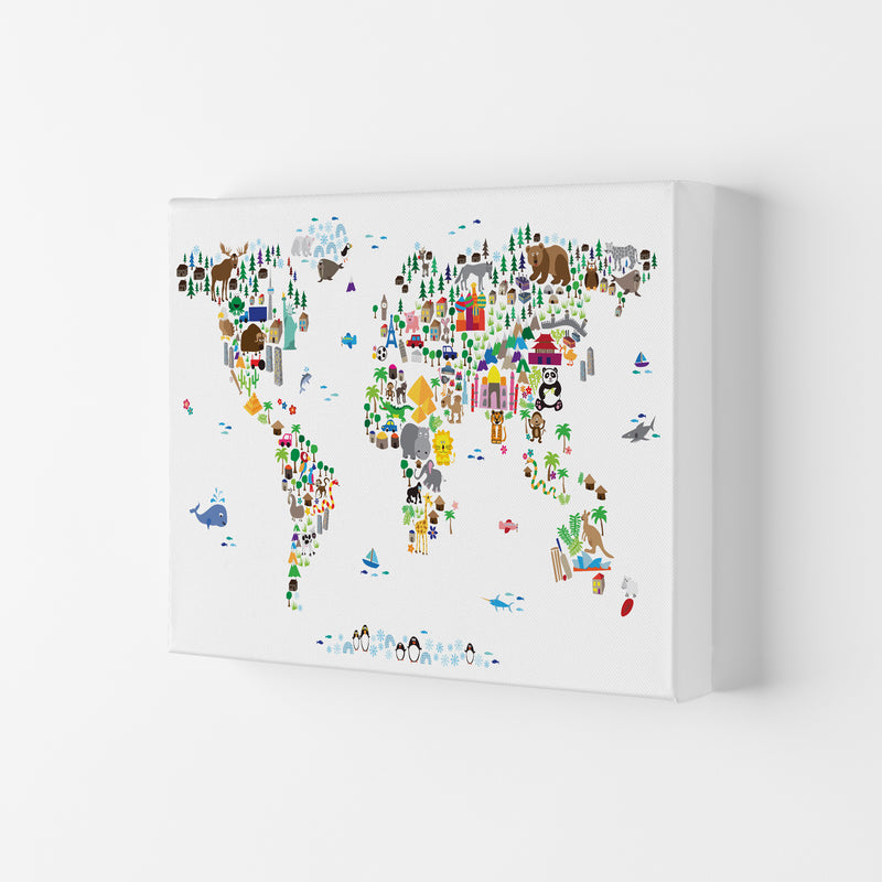 Animal Map of the World Nursery Art Print by Michael Tompsett Canvas