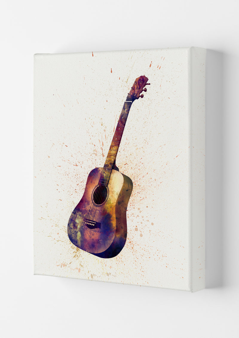 Acoustic Guitar Watercolour  by Michael Tompsett Canvas