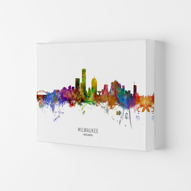 Milwaukee Wisconsin Skyline Art Print by Michael Tompsett Canvas