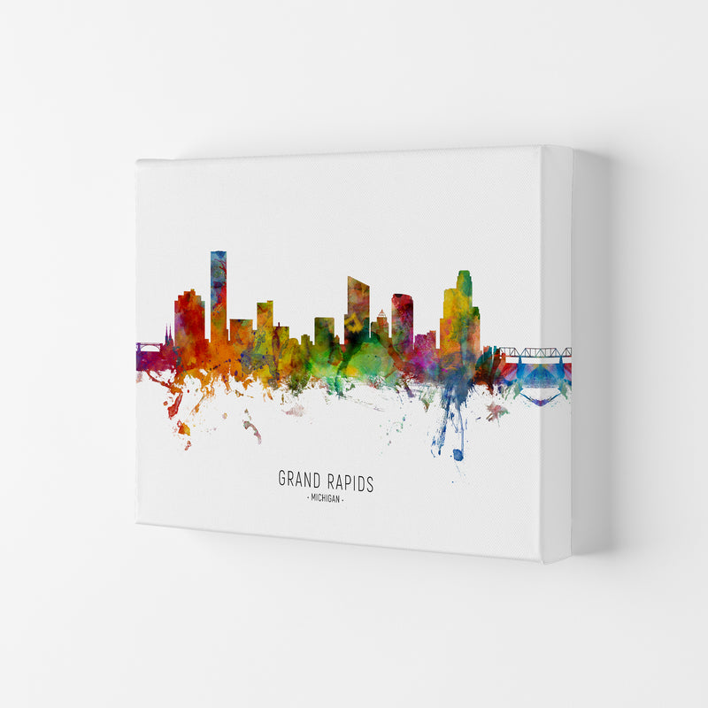 Grand Rapids Michigan Skyline Art Print by Michael Tompsett Canvas