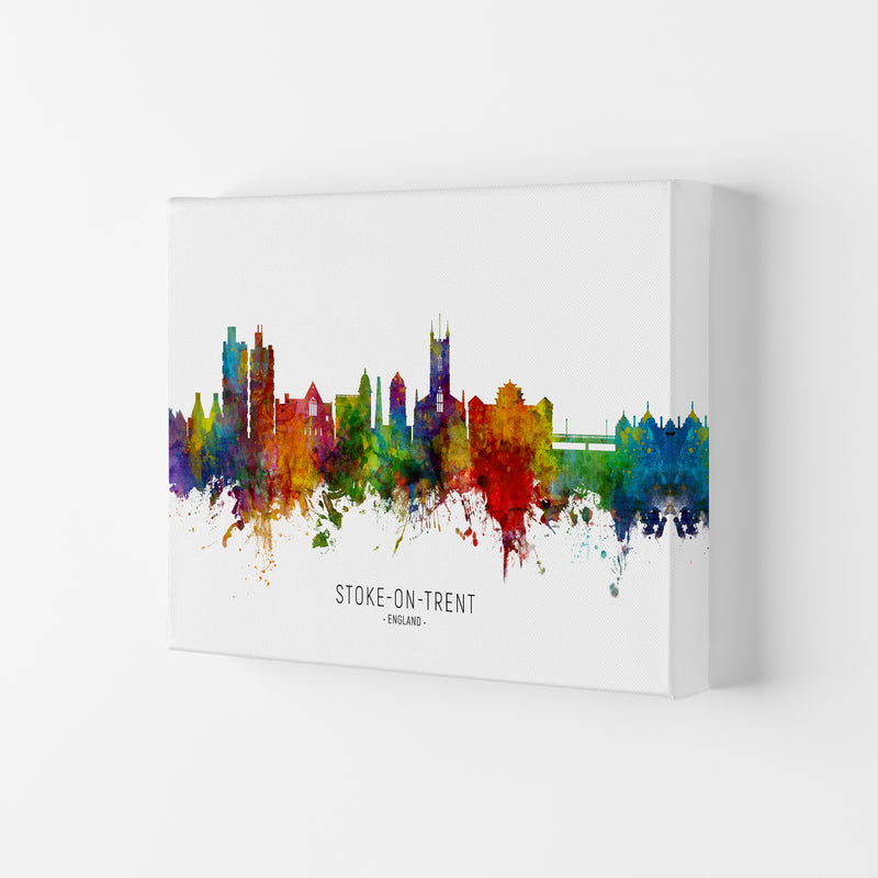 Stoke-On-Trent England Skyline Art Print by Michael Tompsett Canvas