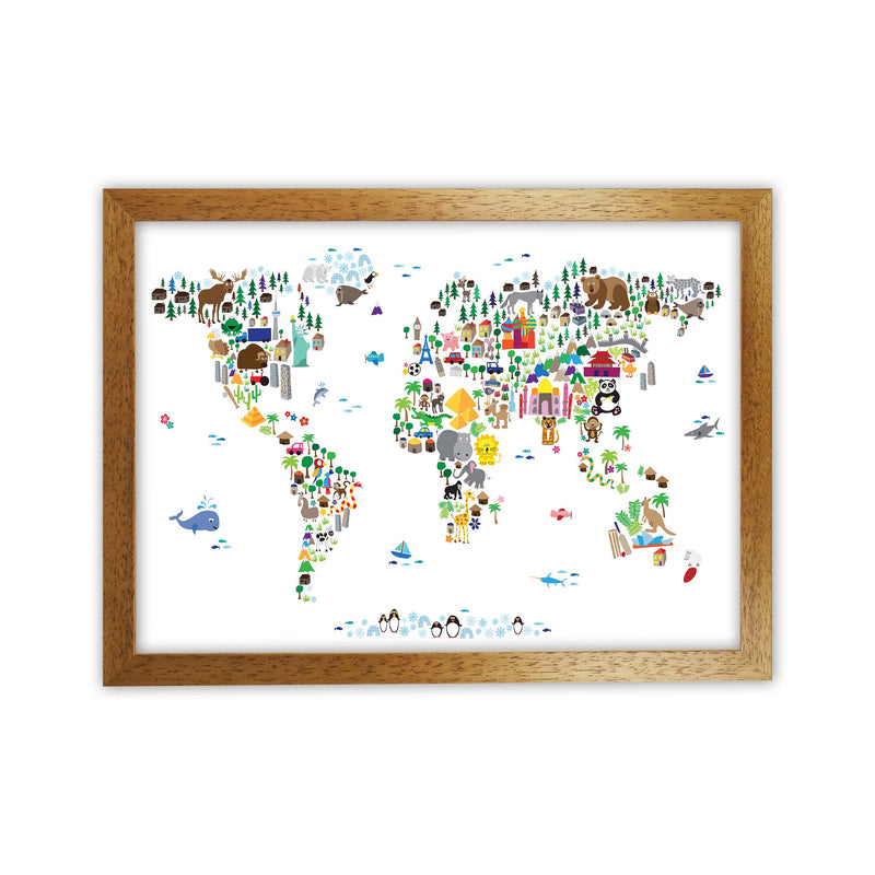 Animal Map of the World Nursery Art Print by Michael Tompsett Oak Grain