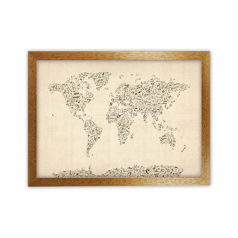 Music Notes Map of the World Art Print by Michael Tompsett Oak Grain