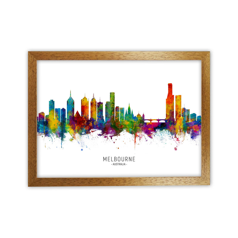 Melbourne Australia Skyline Art Print by Michael Tompsett Oak Grain