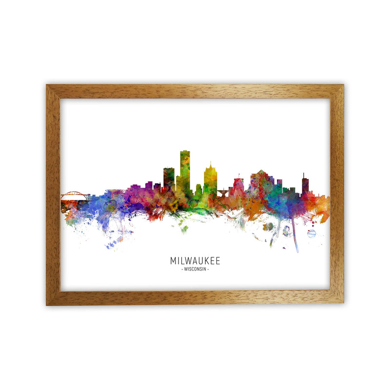 Milwaukee Wisconsin Skyline Art Print by Michael Tompsett Oak Grain