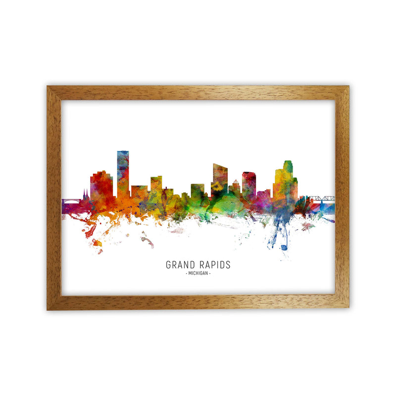 Grand Rapids Michigan Skyline Art Print by Michael Tompsett Oak Grain