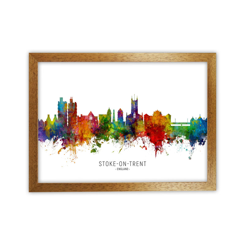 Stoke-On-Trent England Skyline Art Print by Michael Tompsett Oak Grain