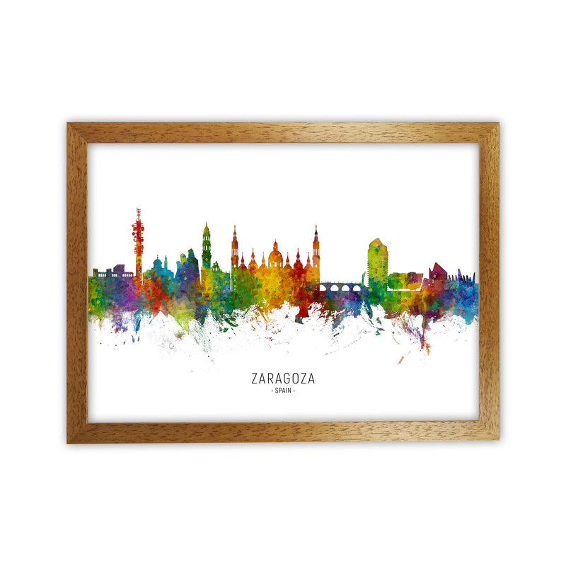 Zaragoza Spain Skyline Art Print by Michael Tompsett Oak Grain