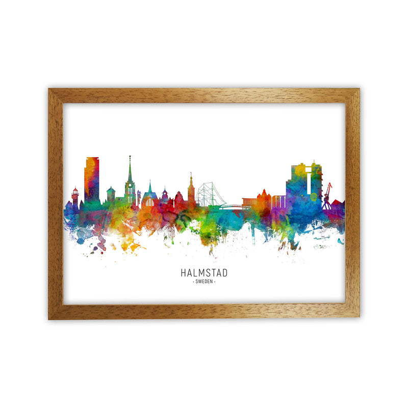 Halmstad Sweden Skyline Art Print by Michael Tompsett Oak Grain