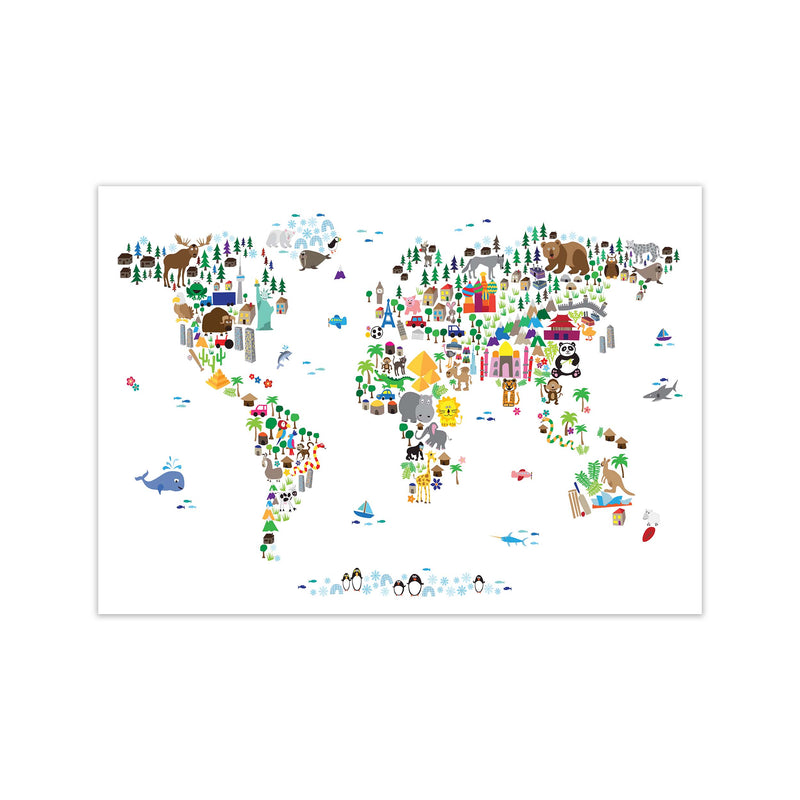 Animal Map of the World Nursery Art Print by Michael Tompsett Print Only