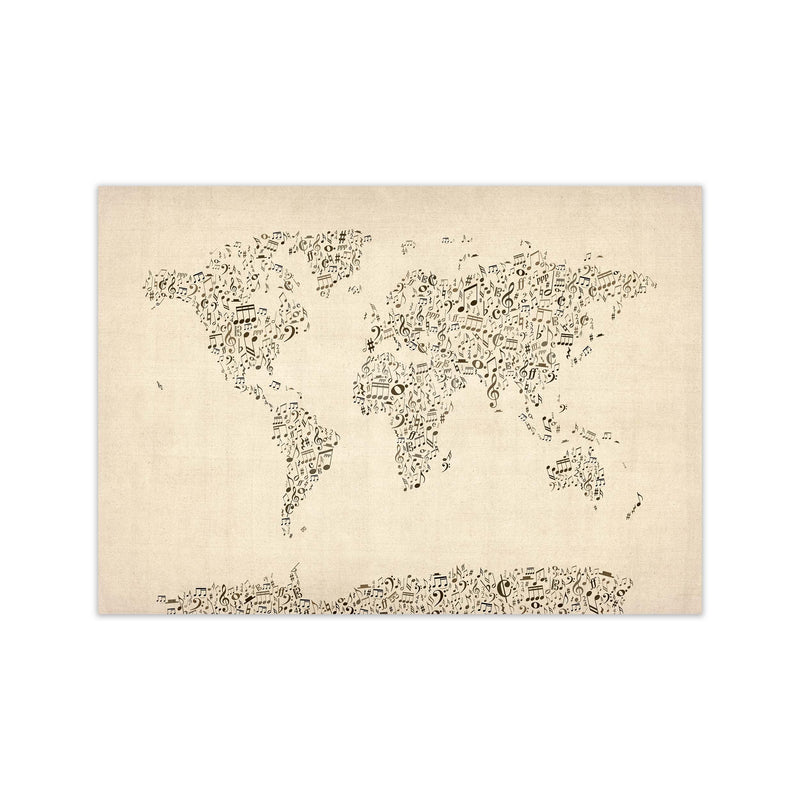 Music Notes Map of the World Art Print by Michael Tompsett Print Only