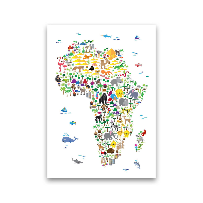 Animal Map of Africa Nursery Art Print by Michael Tompsett Print Only