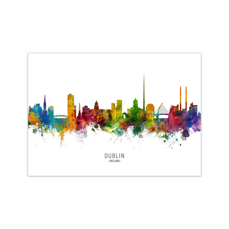 Dublin Ireland Skyline Art Print by Michael Tompsett Print Only