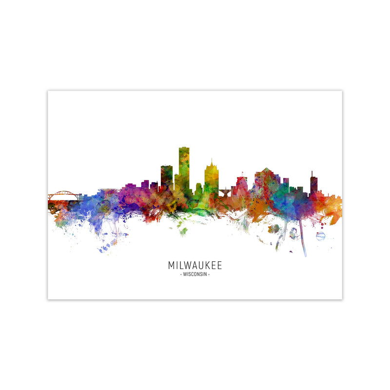 Milwaukee Wisconsin Skyline Art Print by Michael Tompsett Print Only