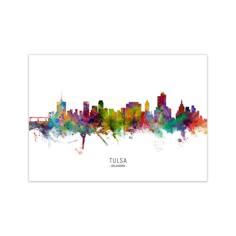 Tulsa Oklahoma Skyline Art Print by Michael Tompsett Print Only