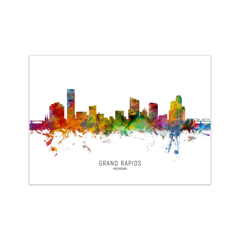 Grand Rapids Michigan Skyline Art Print by Michael Tompsett Print Only