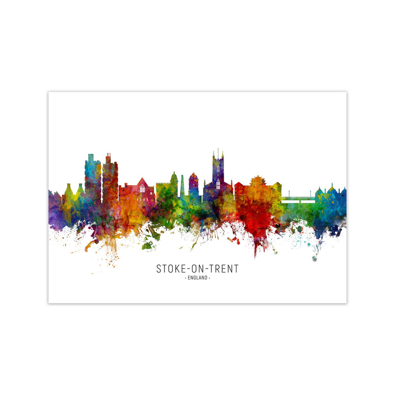 Stoke-On-Trent England Skyline Art Print by Michael Tompsett Print Only
