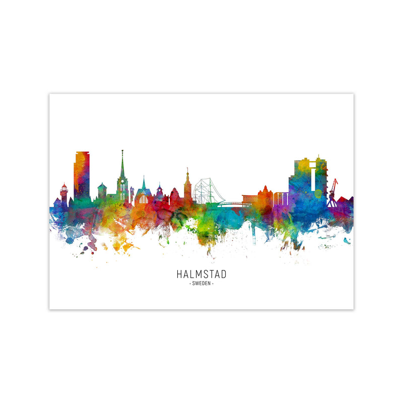 Halmstad Sweden Skyline Art Print by Michael Tompsett Print Only