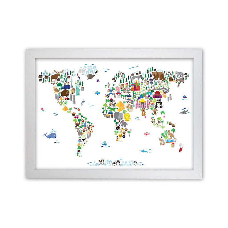 Animal Map of the World Nursery Art Print by Michael Tompsett White Grain