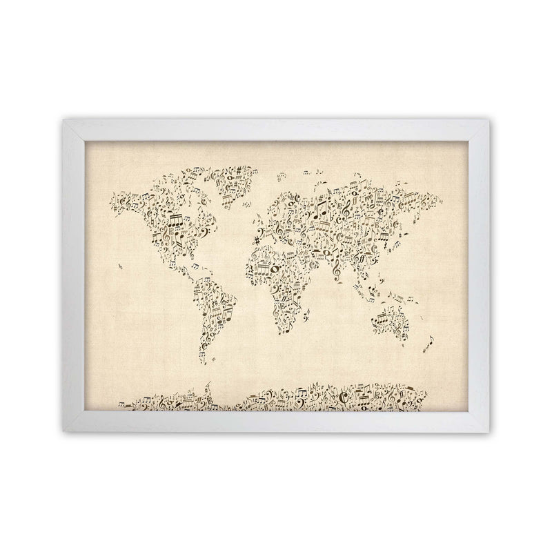 Music Notes Map of the World Art Print by Michael Tompsett White Grain