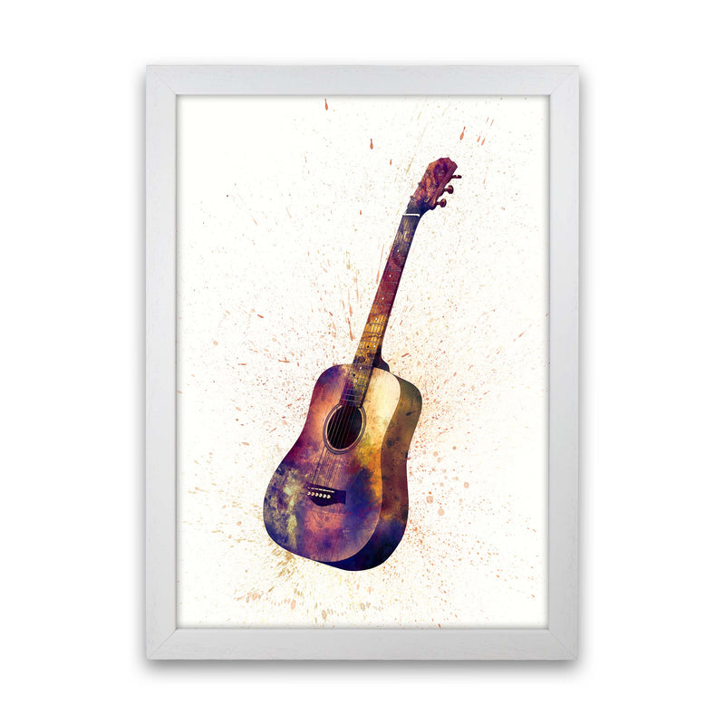 Acoustic Guitar Watercolour  by Michael Tompsett White Grain