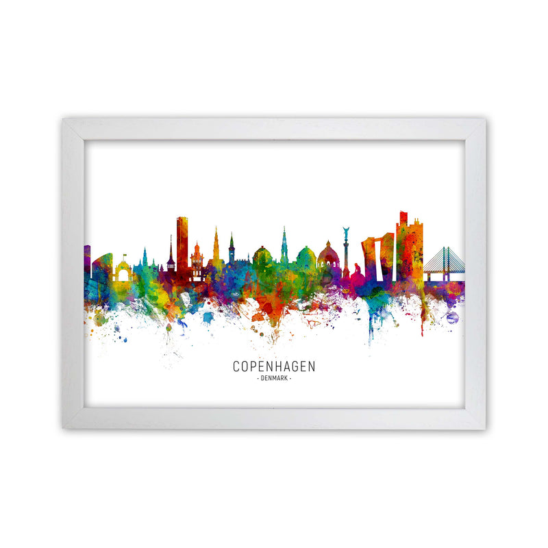 Copenhagen Denmark Skyline Art Print by Michael Tompsett White Grain