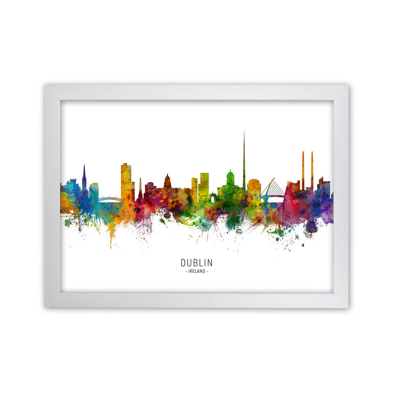 Dublin Ireland Skyline Art Print by Michael Tompsett White Grain