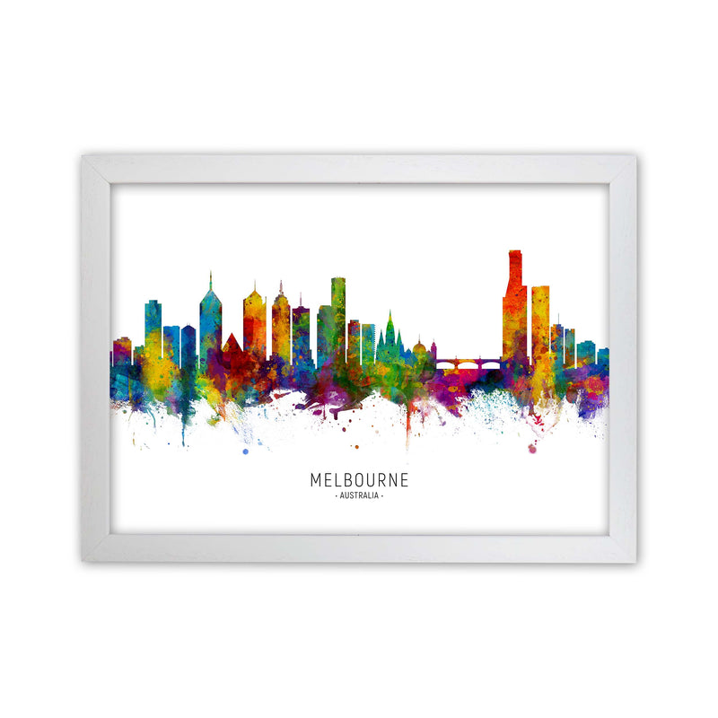 Melbourne Australia Skyline Art Print by Michael Tompsett White Grain