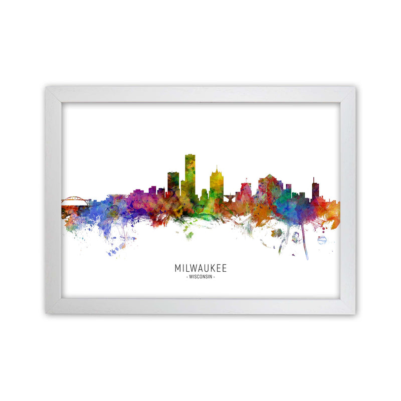 Milwaukee Wisconsin Skyline Art Print by Michael Tompsett White Grain