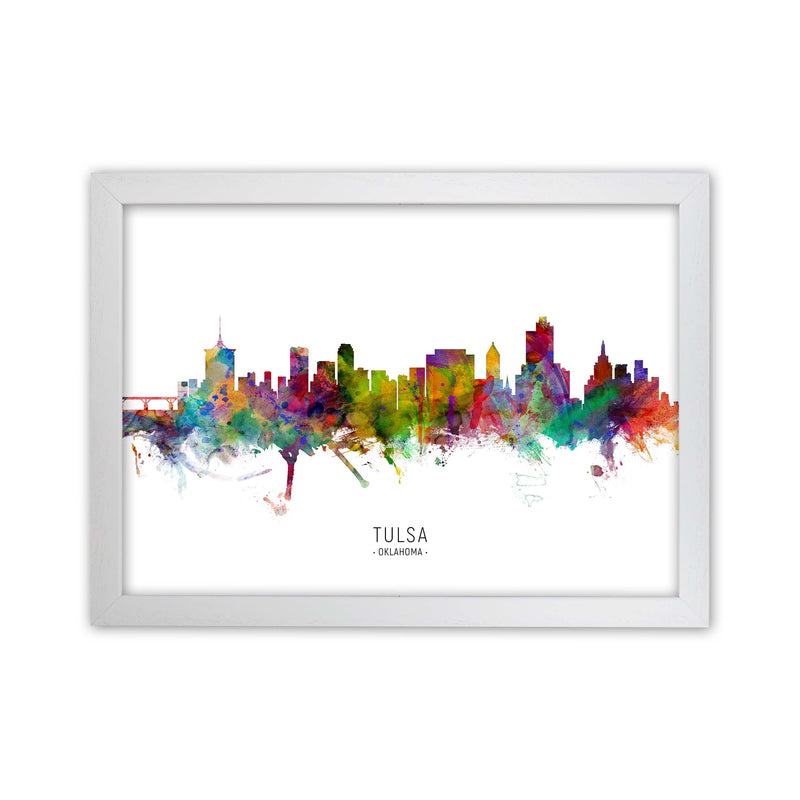 Tulsa Oklahoma Skyline Art Print by Michael Tompsett White Grain