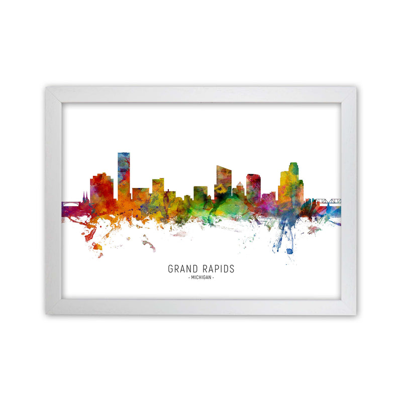 Grand Rapids Michigan Skyline Art Print by Michael Tompsett White Grain