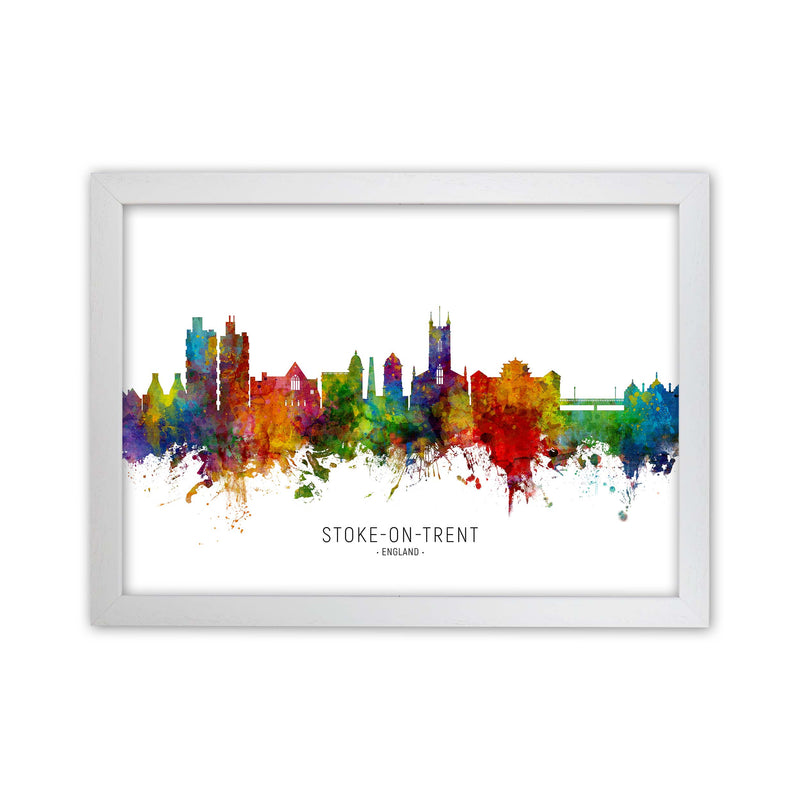 Stoke-On-Trent England Skyline Art Print by Michael Tompsett White Grain