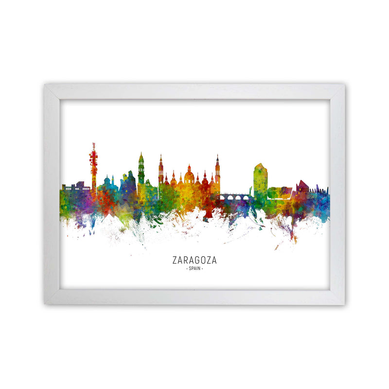Zaragoza Spain Skyline Art Print by Michael Tompsett White Grain