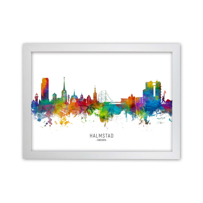 Halmstad Sweden Skyline Art Print by Michael Tompsett White Grain