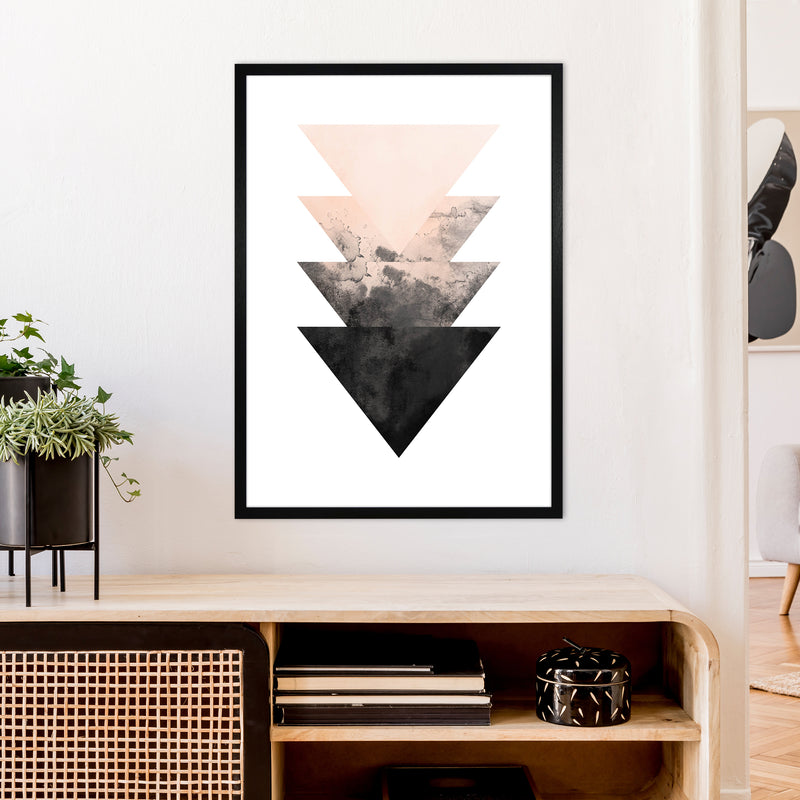 Nude And Black Watercolour 4 Art Print by Pixy Paper A1 White Frame
