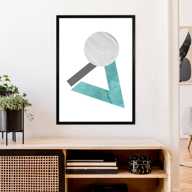 Marble Teal And Silver 3 Art Print by Pixy Paper A1 White Frame