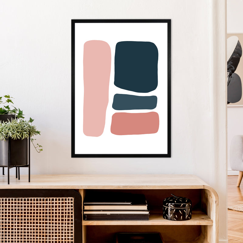 Pink And Navy Abstract Stones 3 Art Print by Pixy Paper A1 White Frame