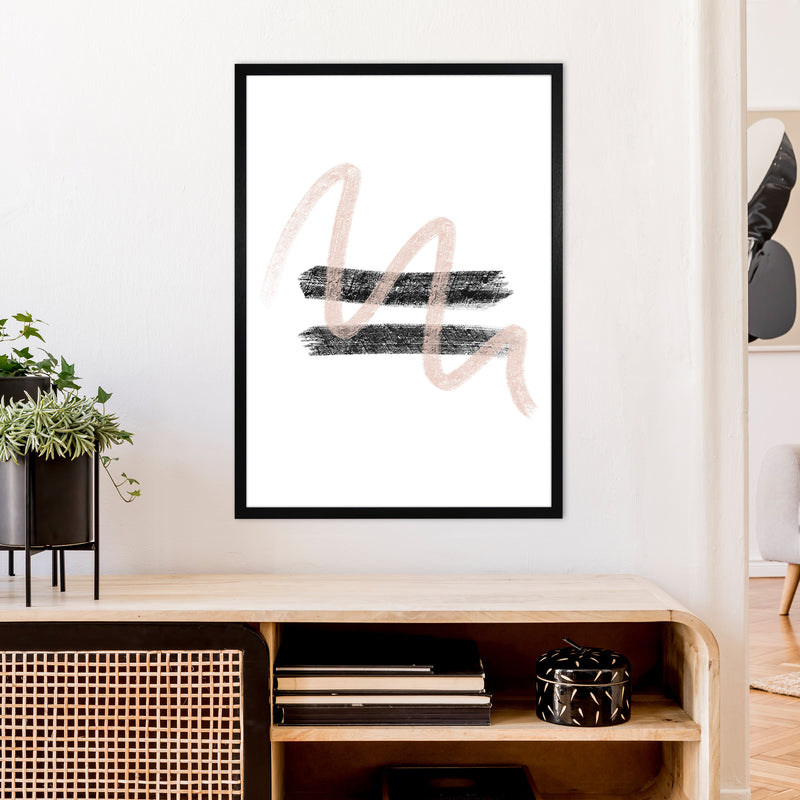 Dalia Chalk Pink And Black Line Contrast  Art Print by Pixy Paper A1 White Frame